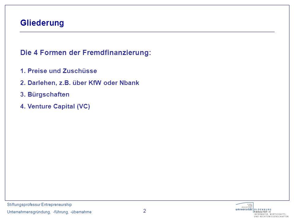 Stiftungsprofessur Entrepreneurship Unternehmensgründung, -führung, -übernahme 3 Gründungskatalog der KfW Mittelstandsbank: Link: http://www.gruendungskatalog.de / Förderdatenbank des Bundesministeriums für Wirtschaft und Arbeit: Link: http://www.foerderdatenbank.de/ Wirtschaftsförderprogramme des Landes Niedersachsen: Link: http://www.nbank.de/Service/Uebersicht_Foerderprogramme.php Businessplan Wettbewerbe Link: http://www.biz-awards.de / Übersichten zu Fördermöglichkeiten im Internet