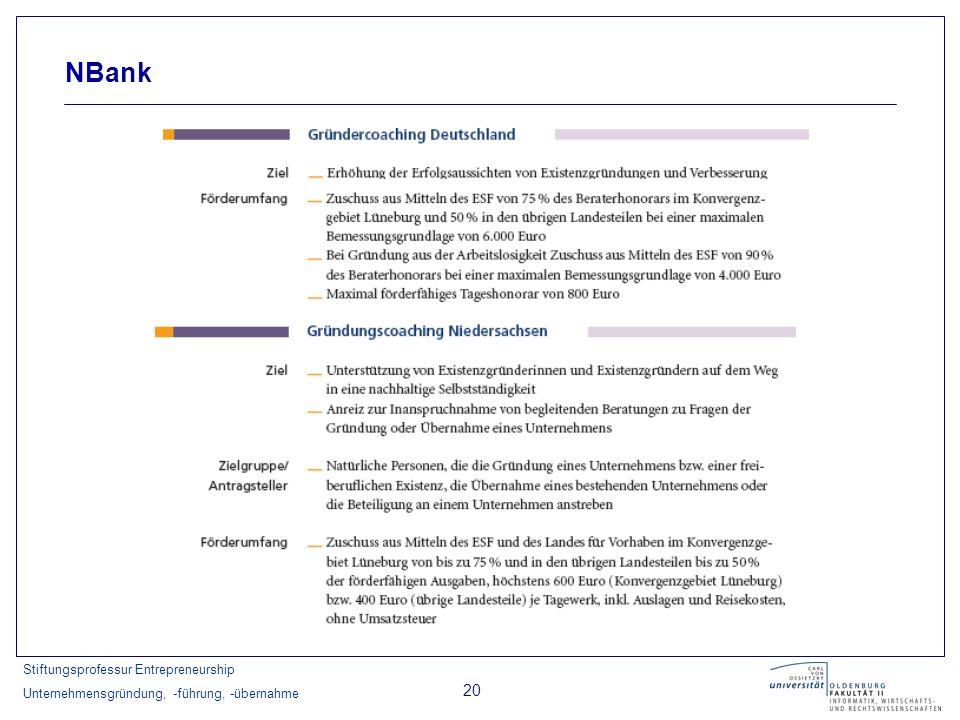 Stiftungsprofessur Entrepreneurship Unternehmensgründung, -führung, -übernahme 20 NBank