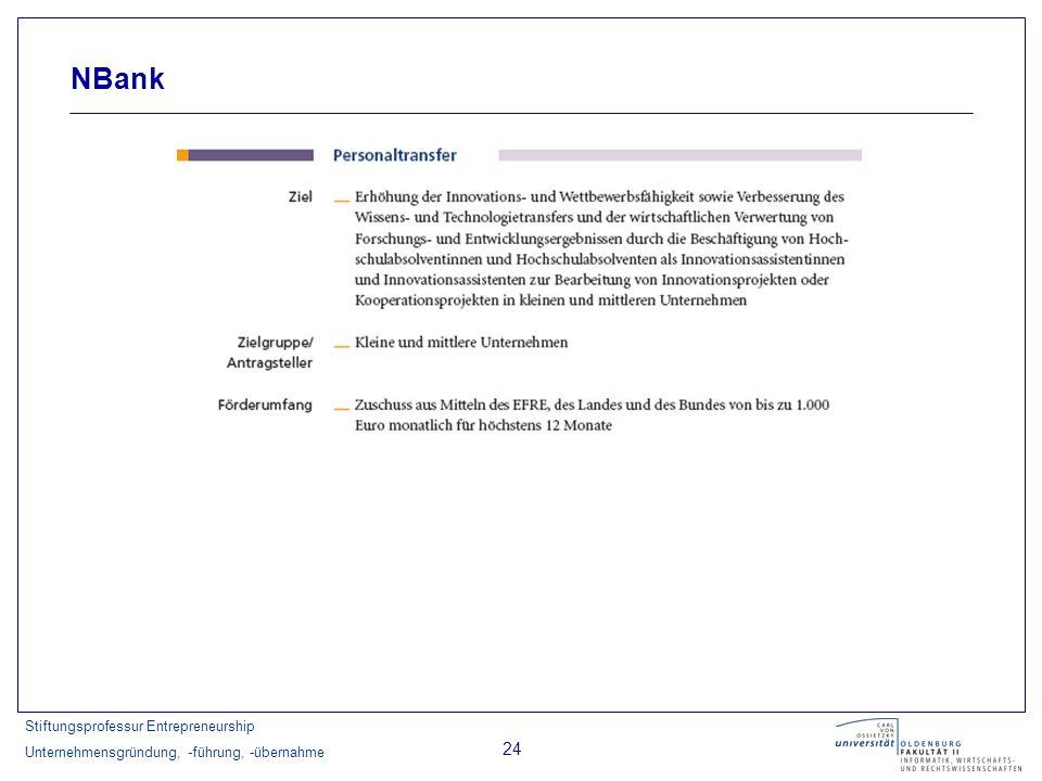 Stiftungsprofessur Entrepreneurship Unternehmensgründung, -führung, -übernahme 24 NBank