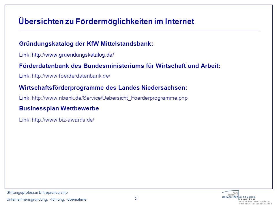 Stiftungsprofessur Entrepreneurship Unternehmensgründung, -führung, -übernahme 3 Gründungskatalog der KfW Mittelstandsbank: Link: http://www.gruendung