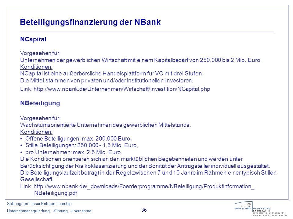 Stiftungsprofessur Entrepreneurship Unternehmensgründung, -führung, -übernahme 36 Beteiligungsfinanzierung der NBank NCapital Vorgesehen für: Unterneh