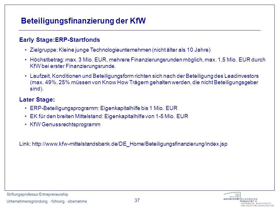 Stiftungsprofessur Entrepreneurship Unternehmensgründung, -führung, -übernahme 37 Beteiligungsfinanzierung der KfW Early Stage:ERP-Startfonds Zielgrup