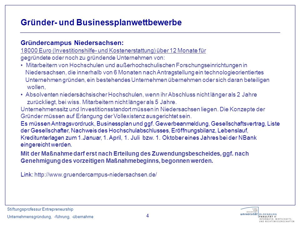 Stiftungsprofessur Entrepreneurship Unternehmensgründung, -führung, -übernahme 25 NBank
