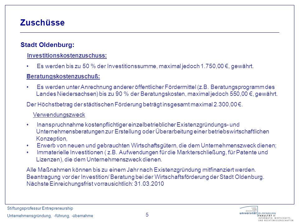 Stiftungsprofessur Entrepreneurship Unternehmensgründung, -führung, -übernahme 6 Zuschüsse Landkreis Ammerland: Ziel der Förderung: Sicherung von Existenzgründungen durch Zinszuschüsse.