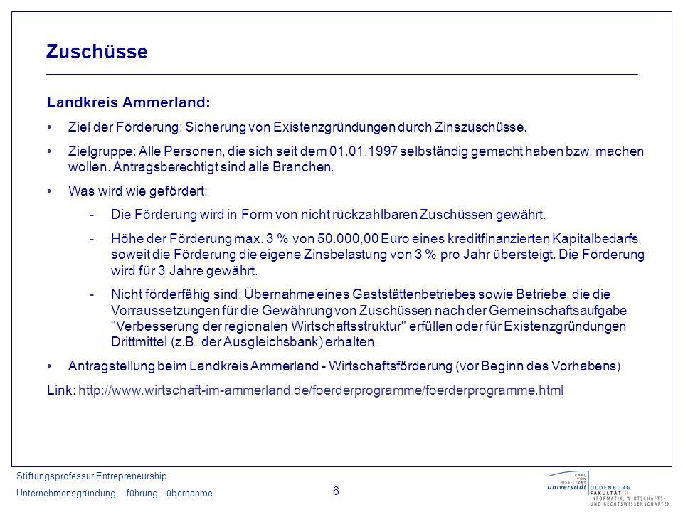 Stiftungsprofessur Entrepreneurship Unternehmensgründung, -führung, -übernahme 6 Zuschüsse Landkreis Ammerland: Ziel der Förderung: Sicherung von Exis