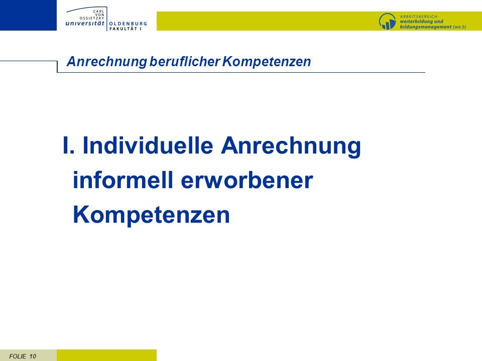 FOLIE 10 Anrechnung beruflicher Kompetenzen I. Individuelle Anrechnung informell erworbener Kompetenzen