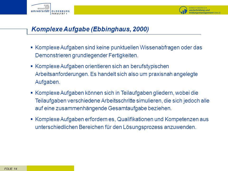 FOLIE 14 Komplexe Aufgabe (Ebbinghaus, 2000) Komplexe Aufgaben sind keine punktuellen Wissenabfragen oder das Demonstrieren grundlegender Fertigkeiten