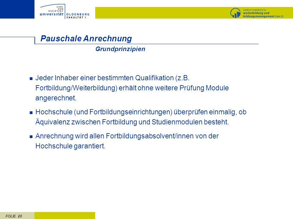 FOLIE 20 Pauschale Anrechnung Jeder Inhaber einer bestimmten Qualifikation (z.B. Fortbildung/Weiterbildung) erhält ohne weitere Prüfung Module angerec