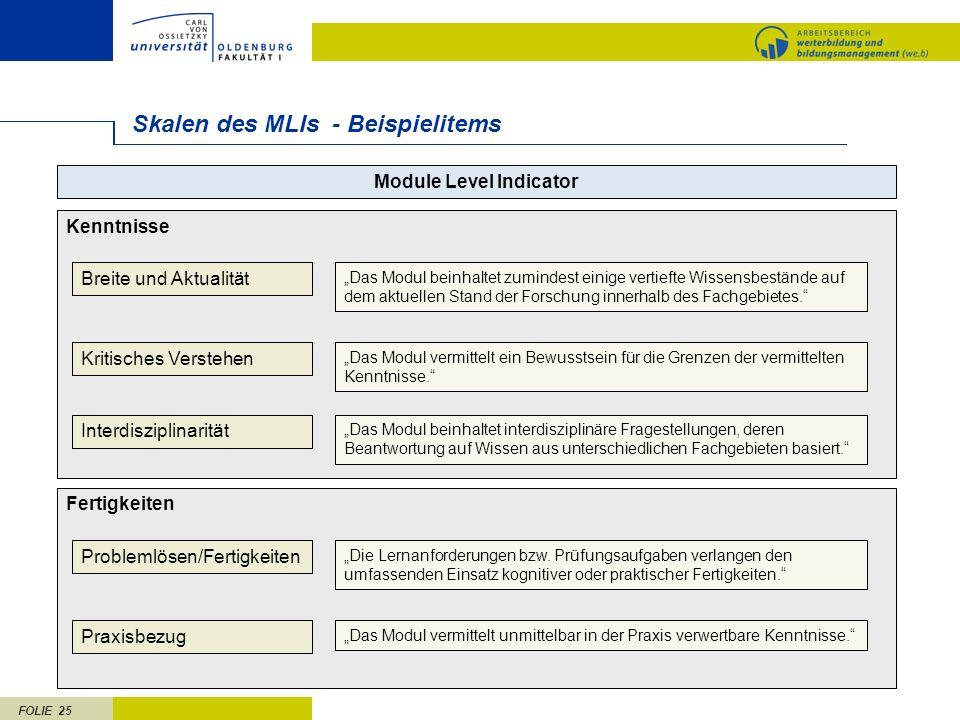 FOLIE 25 Skalen des MLIs - Beispielitems Kenntnisse Module Level Indicator Breite und Aktualität Kritisches Verstehen Interdisziplinarität Das Modul b
