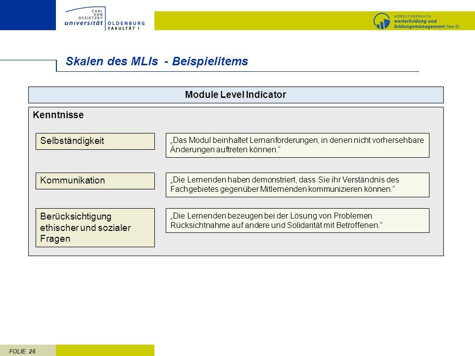 FOLIE 26 Skalen des MLIs - Beispielitems Kenntnisse Module Level Indicator Selbständigkeit Kommunikation Berücksichtigung ethischer und sozialer Frage