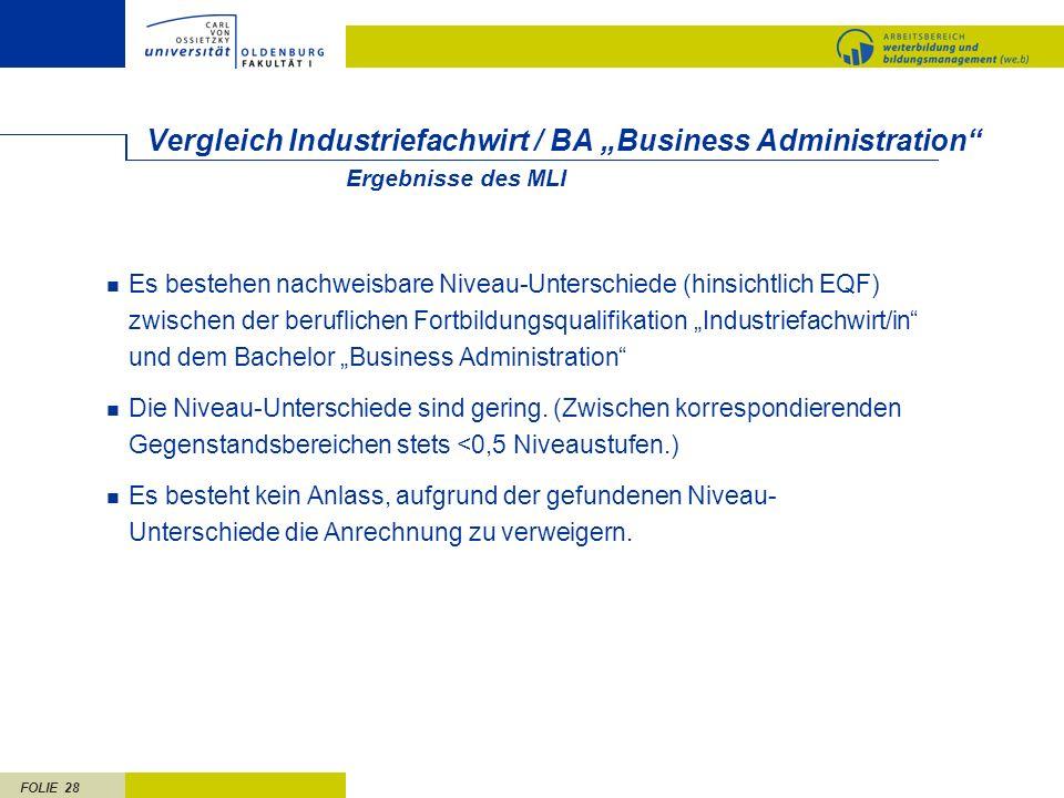 FOLIE 28 Vergleich Industriefachwirt / BA Business Administration Es bestehen nachweisbare Niveau-Unterschiede (hinsichtlich EQF) zwischen der berufli