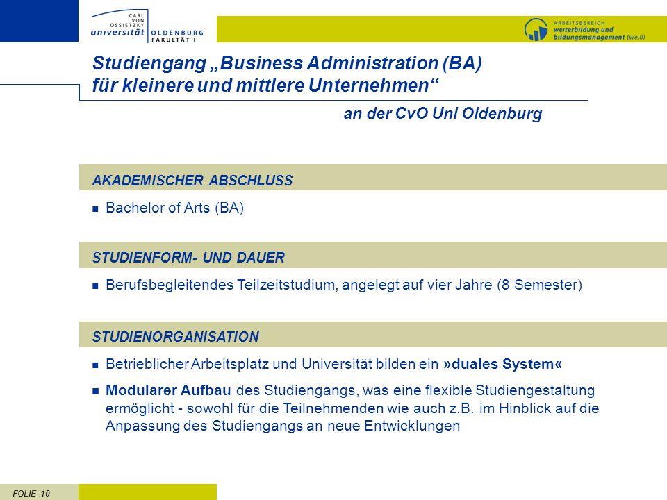 FOLIE 10 an der CvO Uni Oldenburg Studiengang Business Administration (BA) für kleinere und mittlere Unternehmen AKADEMISCHER ABSCHLUSS Bachelor of Ar