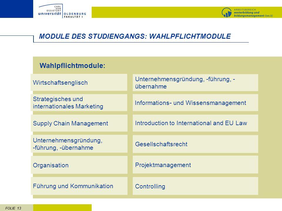 FOLIE 13 MODULE DES STUDIENGANGS: WAHLPFLICHTMODULE Unternehmensgründung, -führung, -übernahme Gesellschaftsrecht Supply Chain Management Introduction