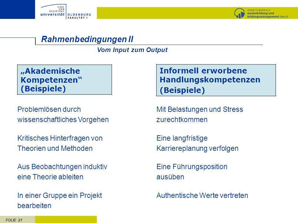FOLIE 21 Rahmenbedingungen II Akademische Kompetenzen (Beispiele) Informell erworbene Handlungskompetenzen (Beispiele) Problemlösen durch wissenschaft