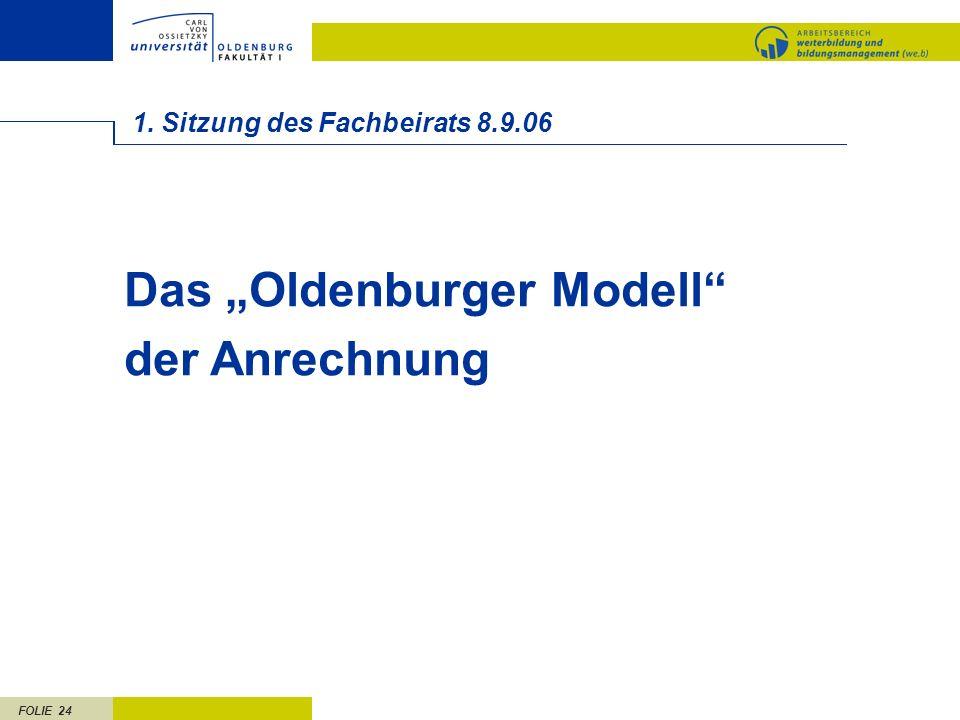 FOLIE 24 1. Sitzung des Fachbeirats 8.9.06 Das Oldenburger Modell der Anrechnung