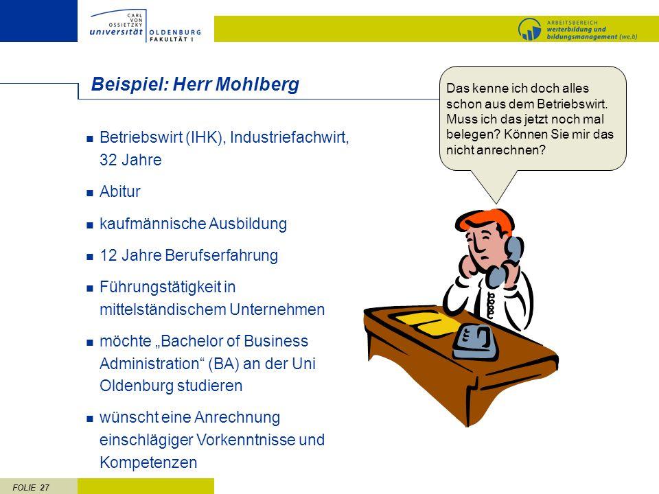 FOLIE 27 Beispiel: Herr Mohlberg Betriebswirt (IHK), Industriefachwirt, 32 Jahre Abitur kaufmännische Ausbildung 12 Jahre Berufserfahrung Führungstäti