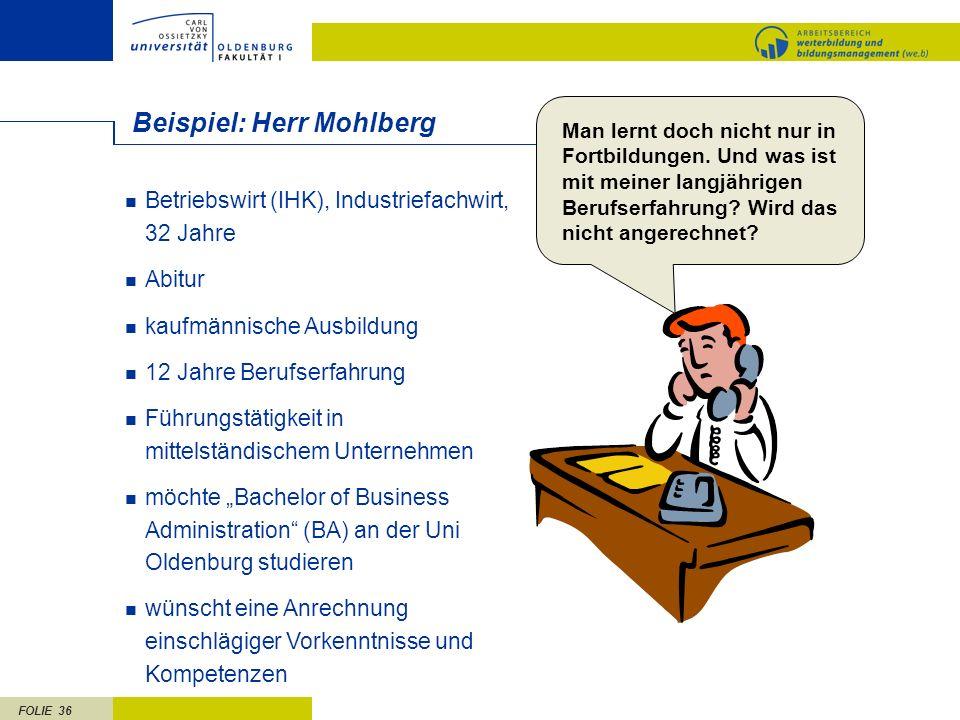 FOLIE 36 Beispiel: Herr Mohlberg Betriebswirt (IHK), Industriefachwirt, 32 Jahre Abitur kaufmännische Ausbildung 12 Jahre Berufserfahrung Führungstäti