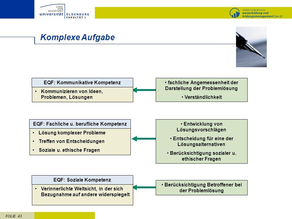 FOLIE 43 Komplexe Aufgabe fachliche Angemessenheit der Darstellung der Problemlösung Verständlichkeit EQF: Fachliche u. berufliche Kompetenz Lösung ko