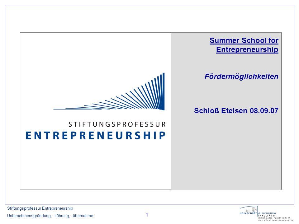 Stiftungsprofessur Entrepreneurship Unternehmensgründung, -führung, -übernahme 1 Summer School for Entrepreneurship Fördermöglichkeiten Schloß Etelsen