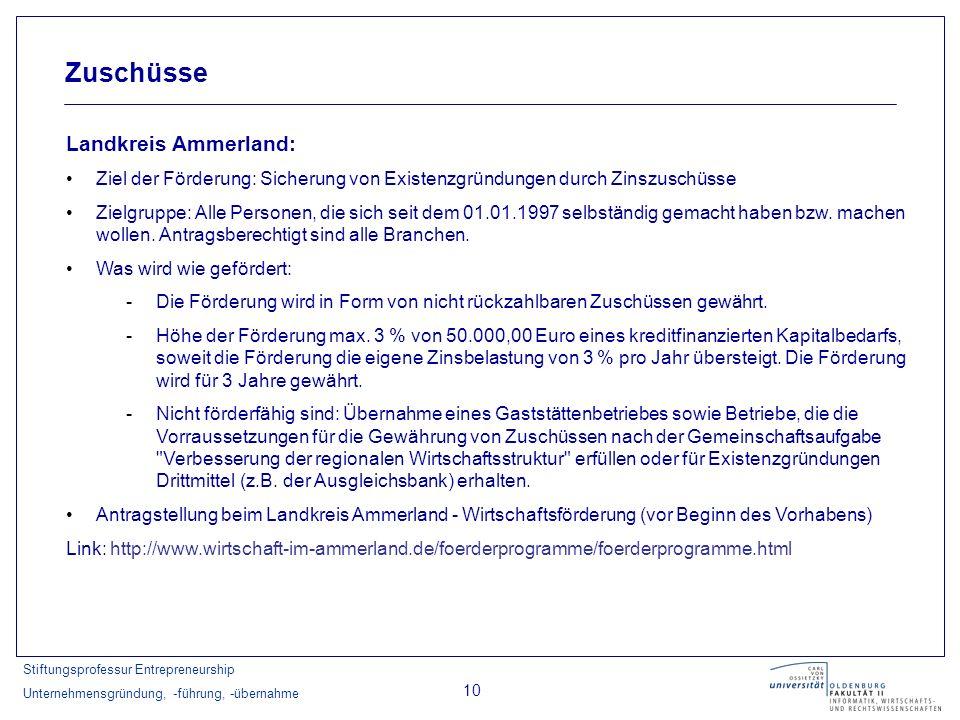 Stiftungsprofessur Entrepreneurship Unternehmensgründung, -führung, -übernahme 10 Zuschüsse Landkreis Ammerland: Ziel der Förderung: Sicherung von Exi