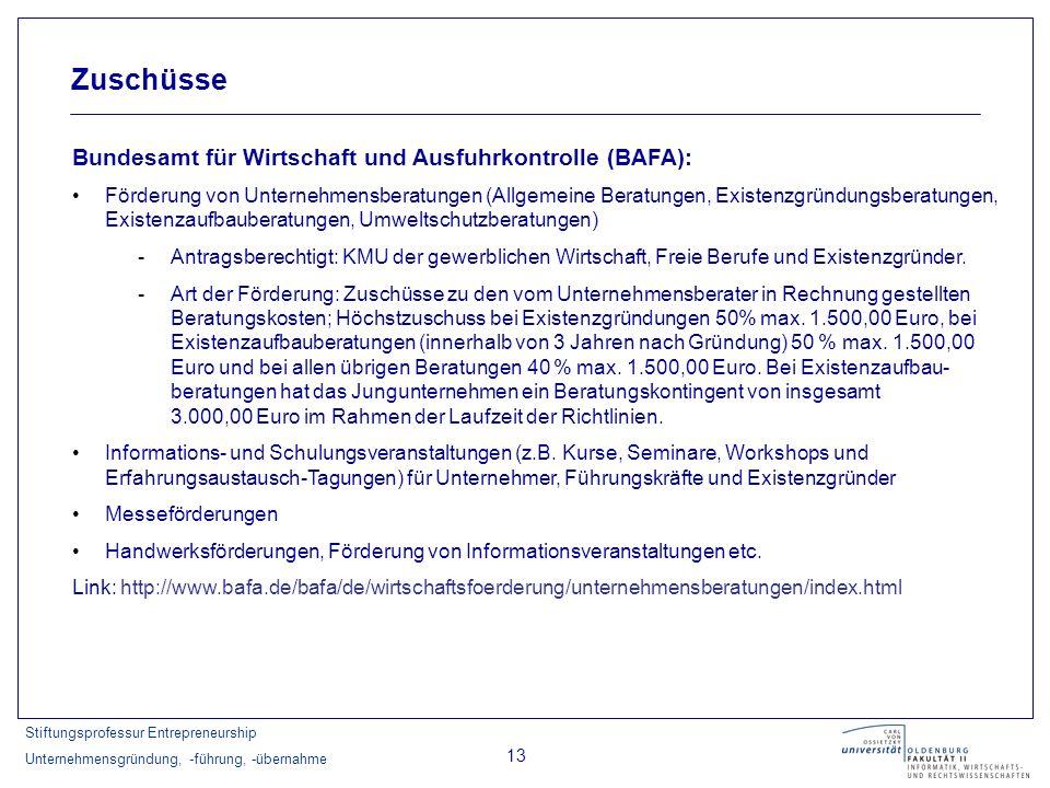 Stiftungsprofessur Entrepreneurship Unternehmensgründung, -führung, -übernahme 13 Zuschüsse Bundesamt für Wirtschaft und Ausfuhrkontrolle (BAFA): Förd