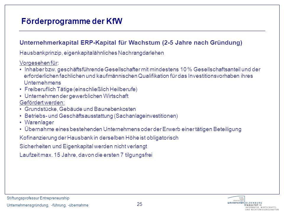 Stiftungsprofessur Entrepreneurship Unternehmensgründung, -führung, -übernahme 25 Förderprogramme der KfW Unternehmerkapital ERP-Kapital für Wachstum