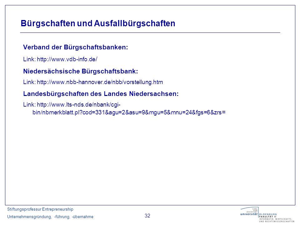 Stiftungsprofessur Entrepreneurship Unternehmensgründung, -führung, -übernahme 32 Verband der Bürgschaftsbanken: Link: http://www.vdb-info.de / Nieder