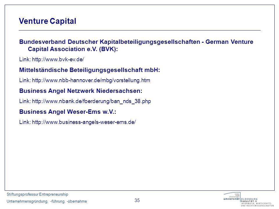 Stiftungsprofessur Entrepreneurship Unternehmensgründung, -führung, -übernahme 35 Venture Capital Bundesverband Deutscher Kapitalbeteiligungsgesellsch