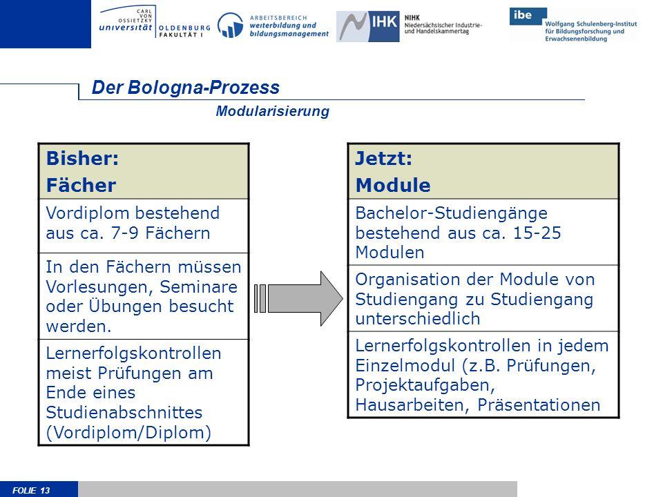 FOLIE 13 Der Bologna-Prozess Bisher: Fächer Vordiplom bestehend aus ca.