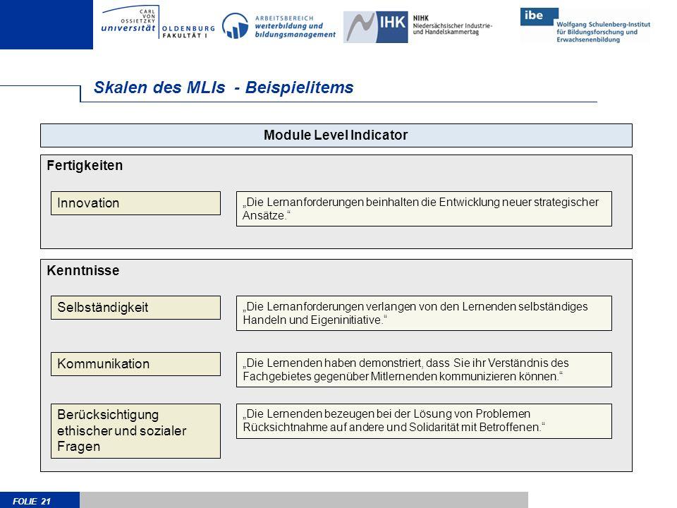 FOLIE 21 Skalen des MLIs - Beispielitems Module Level Indicator Kenntnisse Selbständigkeit Kommunikation Berücksichtigung ethischer und sozialer Fragen Die Lernanforderungen verlangen von den Lernenden selbständiges Handeln und Eigeninitiative.