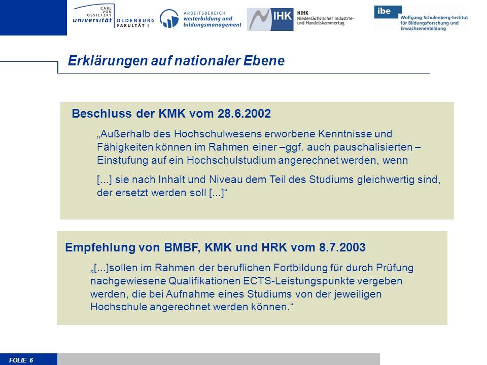 FOLIE 6 Beschluss der KMK vom 28.6.2002 Außerhalb des Hochschulwesens erworbene Kenntnisse und Fähigkeiten können im Rahmen einer –ggf.