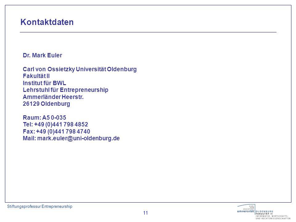 Stiftungsprofessur Entrepreneurship 11 Dr.