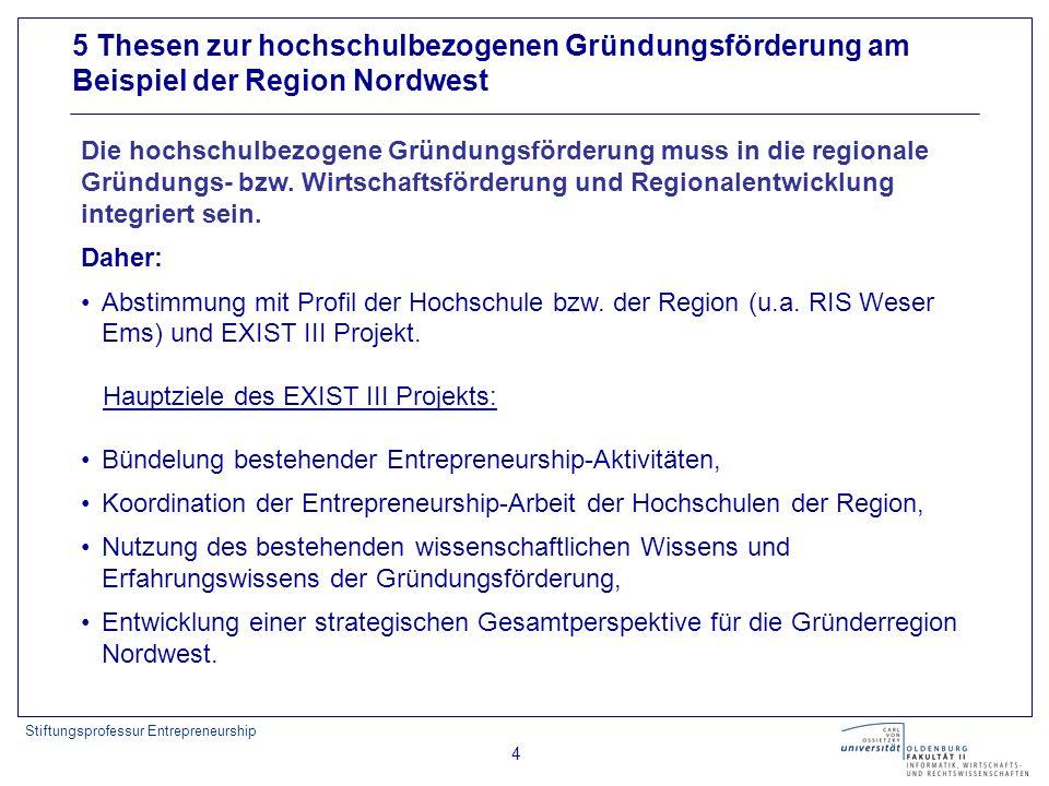 Stiftungsprofessur Entrepreneurship 4 5 Thesen zur hochschulbezogenen Gründungsförderung am Beispiel der Region Nordwest Daher: Abstimmung mit Profil der Hochschule bzw.