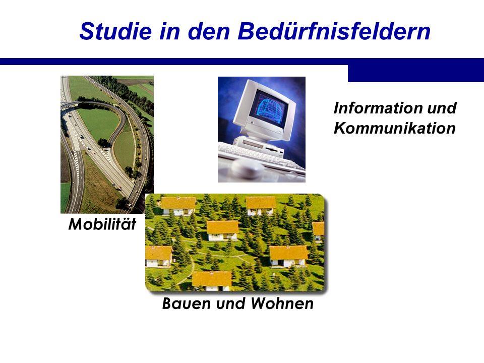 Studie in den Bedürfnisfeldern Mobilität Bauen und Wohnen Information und Kommunikation