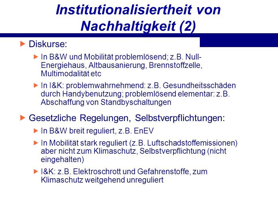 Institutionalisiertheit von Nachhaltigkeit (2) Diskurse: In B&W und Mobilität problemlösend; z.B. Null- Energiehaus, Altbausanierung, Brennstoffzelle,