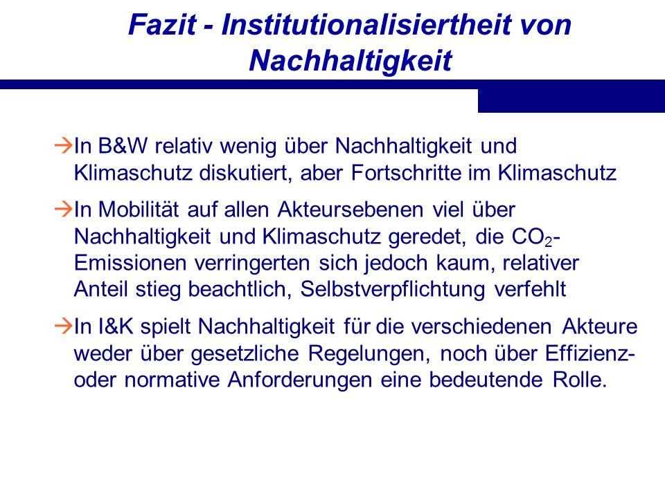 Fazit - Institutionalisiertheit von Nachhaltigkeit In B&W relativ wenig über Nachhaltigkeit und Klimaschutz diskutiert, aber Fortschritte im Klimaschu