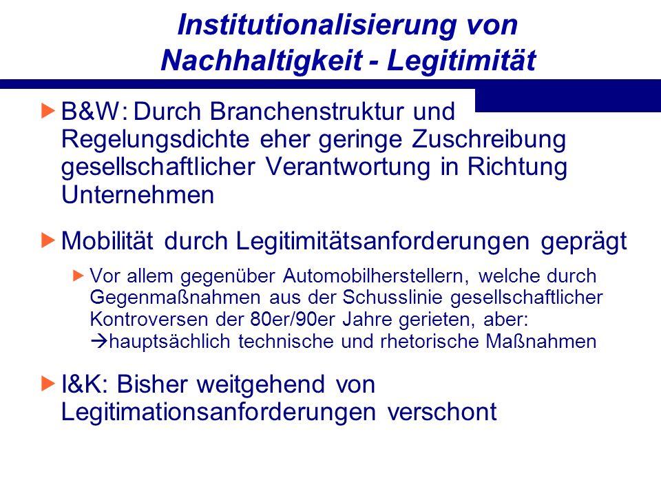 Institutionalisierung von Nachhaltigkeit - Legitimität B&W: Durch Branchenstruktur und Regelungsdichte eher geringe Zuschreibung gesellschaftlicher Ve