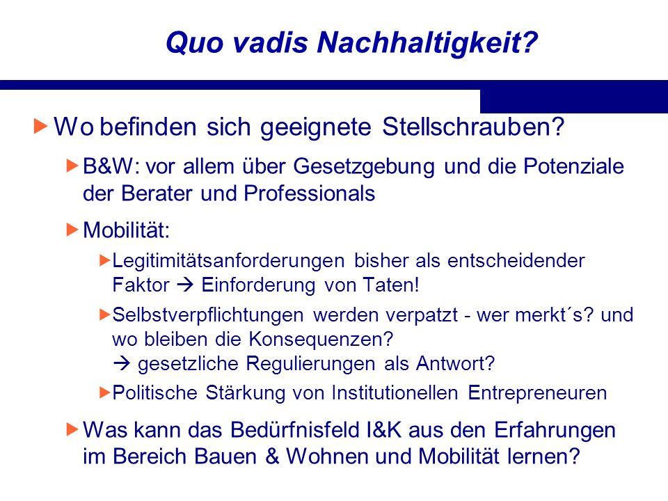 Quo vadis Nachhaltigkeit? Wo befinden sich geeignete Stellschrauben? B&W: vor allem über Gesetzgebung und die Potenziale der Berater und Professionals