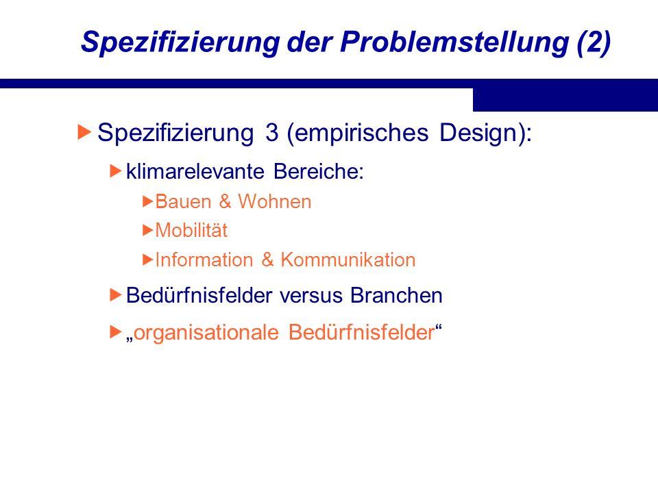 Spezifizierung der Problemstellung (2) Spezifizierung 3 (empirisches Design): klimarelevante Bereiche: Bauen & Wohnen Mobilität Information & Kommunik
