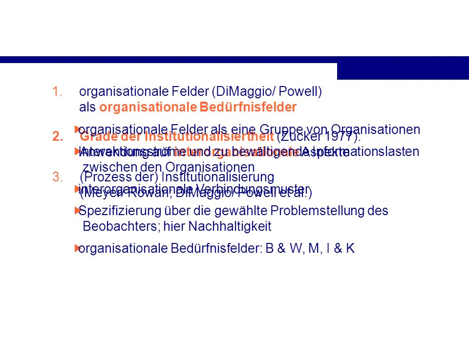 1.organisationale Felder (DiMaggio/ Powell) als organisationale Bedürfnisfelder 2.Grade der Institutionalisiertheit (Zucker 1977): Anwendung auf inter