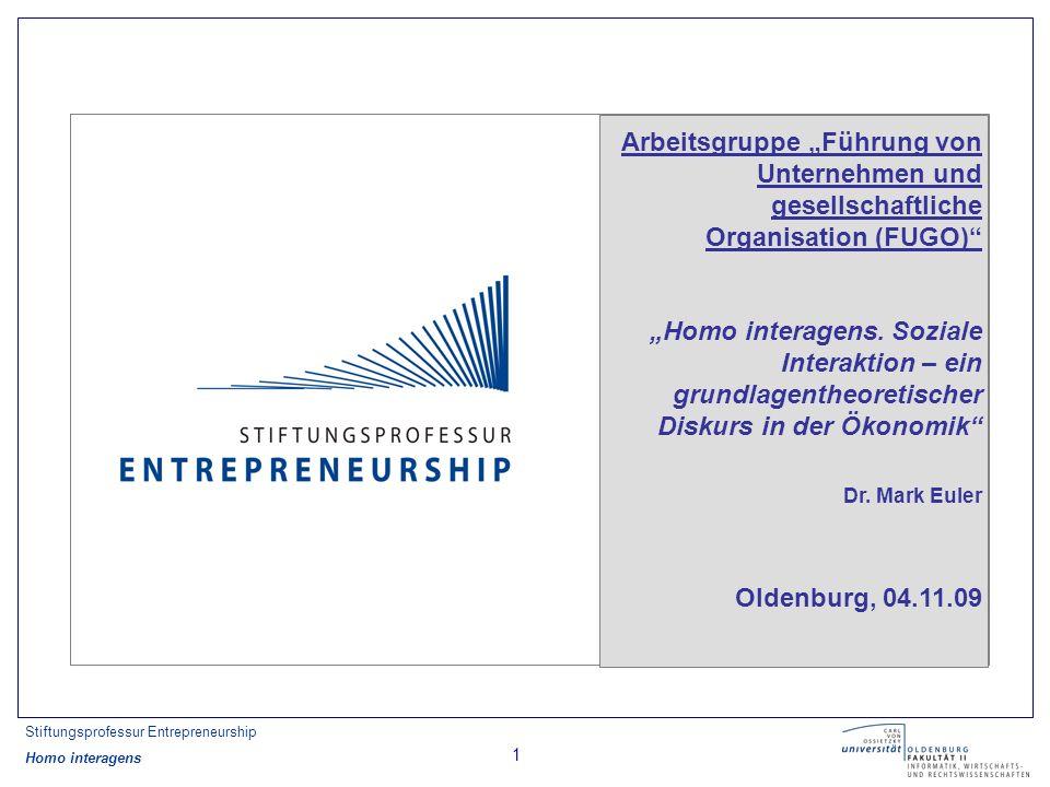 Stiftungsprofessur Entrepreneurship Homo interagens 2 Gliederung 1) Ausgangssituation 2) Argumentation 3) Weitere Kapitel