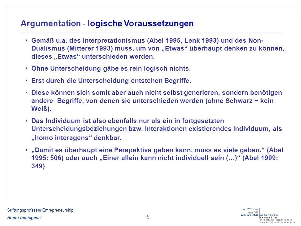 Stiftungsprofessur Entrepreneurship Homo interagens 5 Argumentation - logische Voraussetzungen Gemäß u.a.