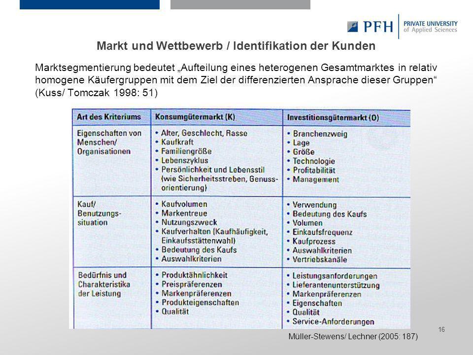Seite 16 Hier ist Platz für den Namen des Referenten, Semesterangaben, Studienfach etc. Marktsegmentierung bedeutet Aufteilung eines heterogenen Gesam