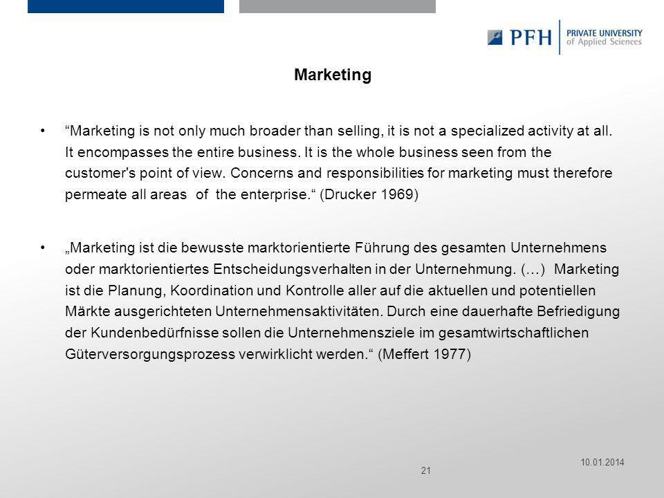 Seite 21 Hier ist Platz für den Namen des Referenten, Semesterangaben, Studienfach etc. Marketing Marketing is not only much broader than selling, it