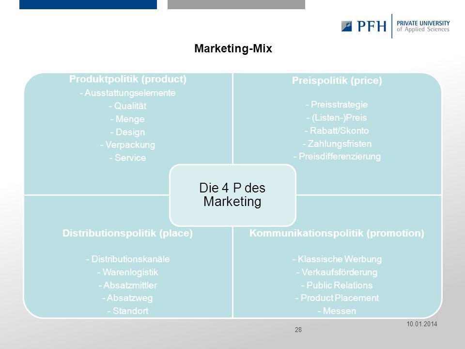 Seite 28 Hier ist Platz für den Namen des Referenten, Semesterangaben, Studienfach etc. Marketing-Mix Produktpolitik (product) - Ausstattungselemente