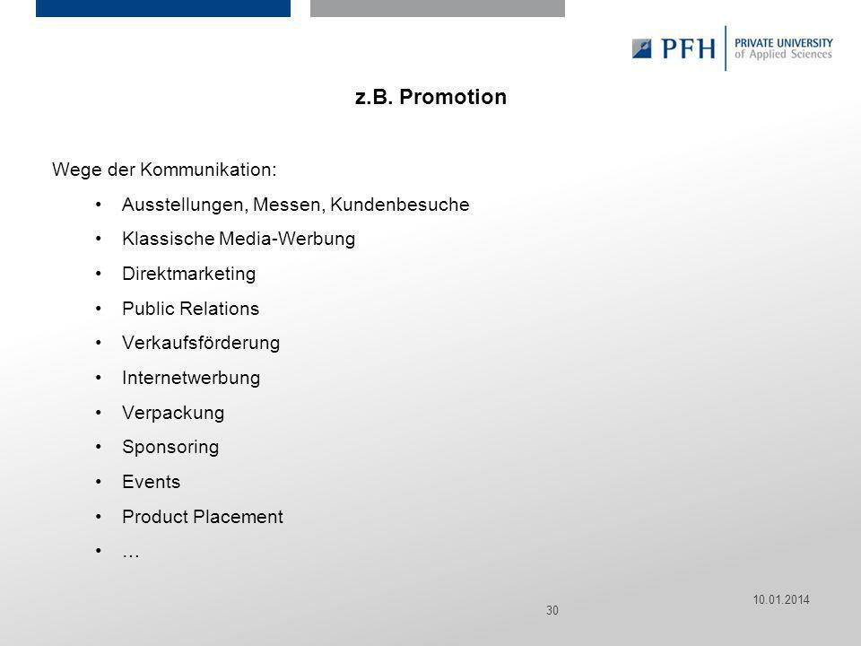 Seite 30 Hier ist Platz für den Namen des Referenten, Semesterangaben, Studienfach etc. z.B. Promotion Wege der Kommunikation: Ausstellungen, Messen,