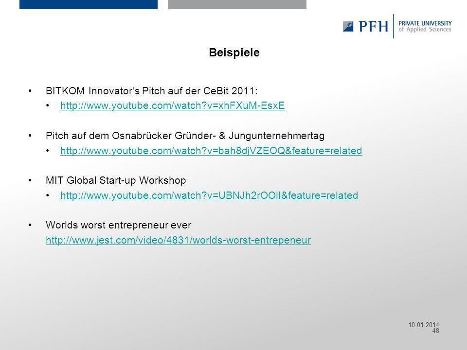 Seite 48 Hier ist Platz für den Namen des Referenten, Semesterangaben, Studienfach etc. Beispiele BITKOM Innovators Pitch auf der CeBit 2011: http://w
