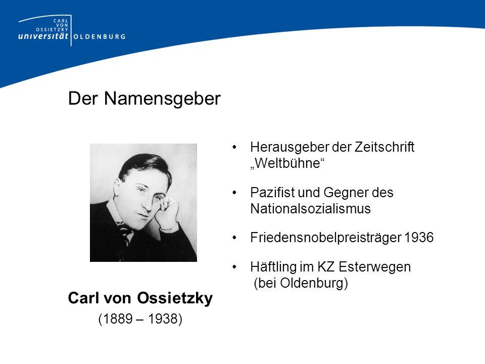 Der Namensgeber Herausgeber der Zeitschrift Weltbühne Pazifist und Gegner des Nationalsozialismus Friedensnobelpreisträger 1936 Häftling im KZ Esterwe