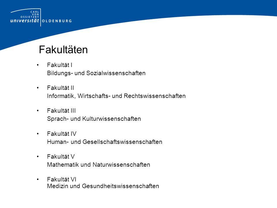 Fakultäten Fakultät I Bildungs- und Sozialwissenschaften Fakultät II Informatik, Wirtschafts- und Rechtswissenschaften Fakultät III Sprach- und Kultur