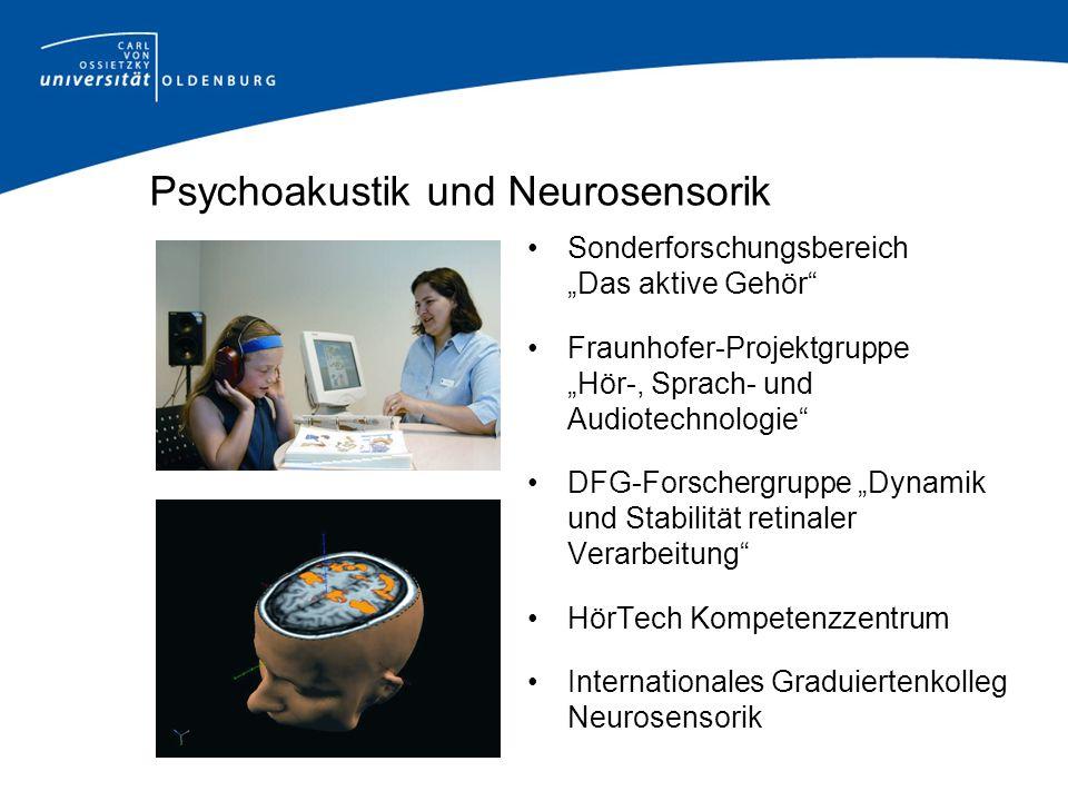 Psychoakustik und Neurosensorik Sonderforschungsbereich Das aktive Gehör Fraunhofer-Projektgruppe Hör-, Sprach- und Audiotechnologie DFG-Forschergrupp